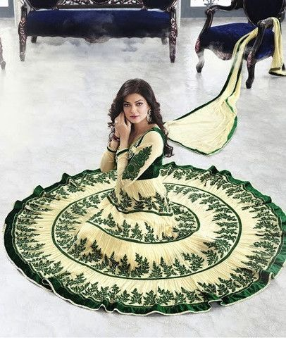 Sushmita Sen Cream and Green Tiered Anarkali – Lashkaraa