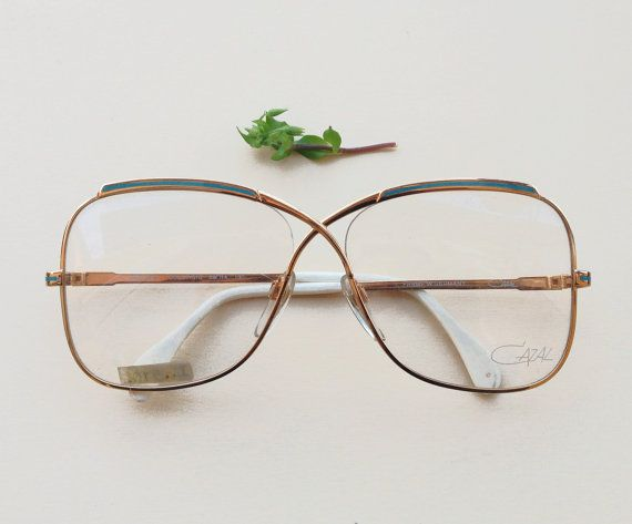 Cazal 1980s eyeglasses / 80s NOS gold and enamel turquoise designer frames / hipster Western Germany sunglasses / Luxury eyewear Mod. 224 by Skomoroki