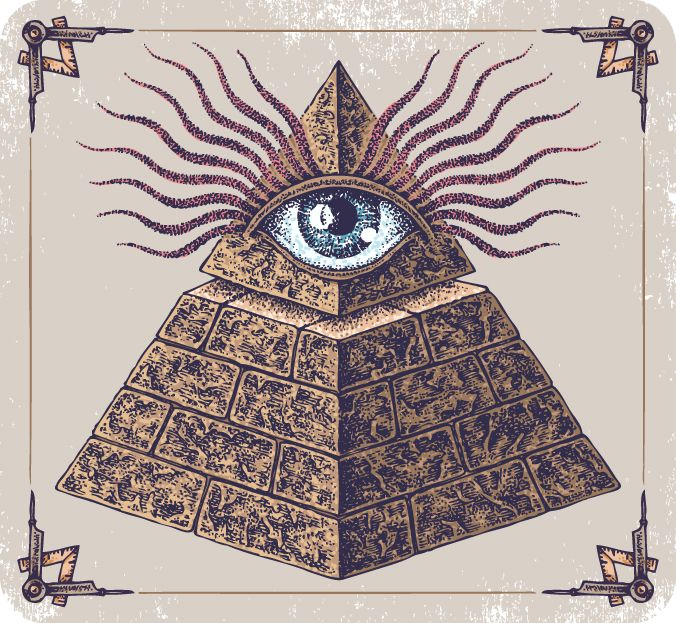 An all-seeing eye atop a pyramid is supposedly a symbol for the secret society known as the Illuminati.