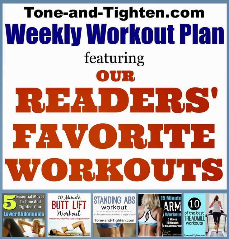 You have spoken (well, clicked!)!! Newest Weekly Workout Plan is 5 of YOUR favorite workouts on Tone-and-Tighten.com. Your whole week's exercises in one convenient spot!
