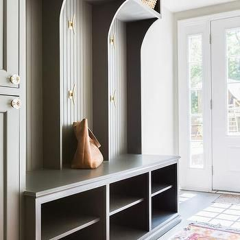 Contemporary mud room with olive storage space and cubbies for Modern mudroom bench