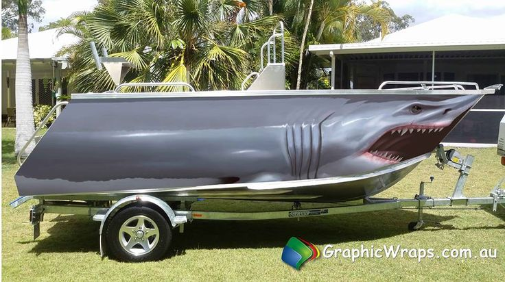 Great White Shark Boat Wrap Illustrated Graphic