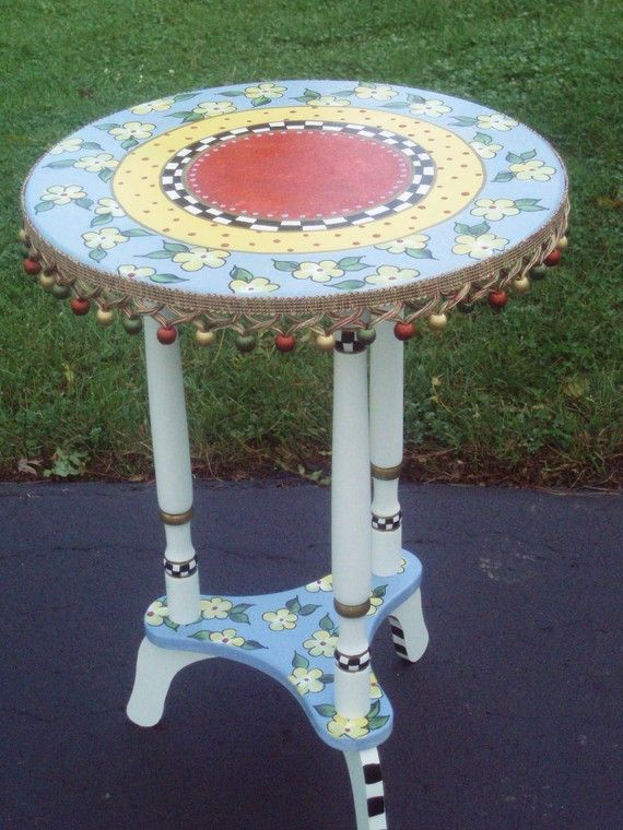 Hand Painted Round Top Accent Side Table By Paintingbymichele