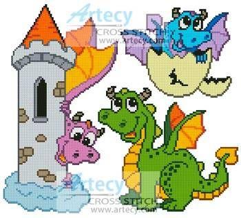 Cute Dragon Set cross stitch pattern.