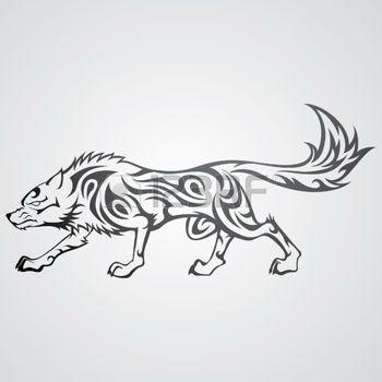 dessin tribal: Wolf Tattoo Illustration