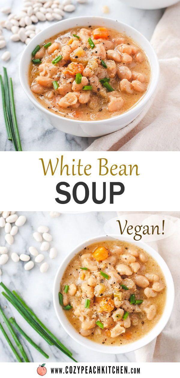Creamy Vegan White Bean Soup Instant Pot Recipe Recipe In 2020 White Bean Soup Instant Pot Recipes Easy Healthy Recipes