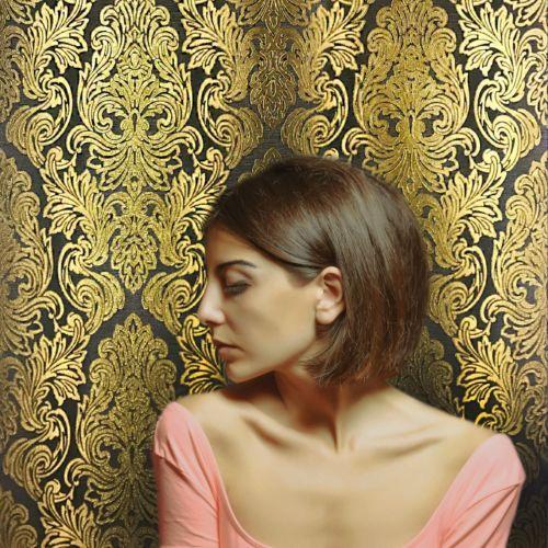 Non-Woven-Wallpaper-black-gold-wallcovering-roll-damask-stripes-textured-modern