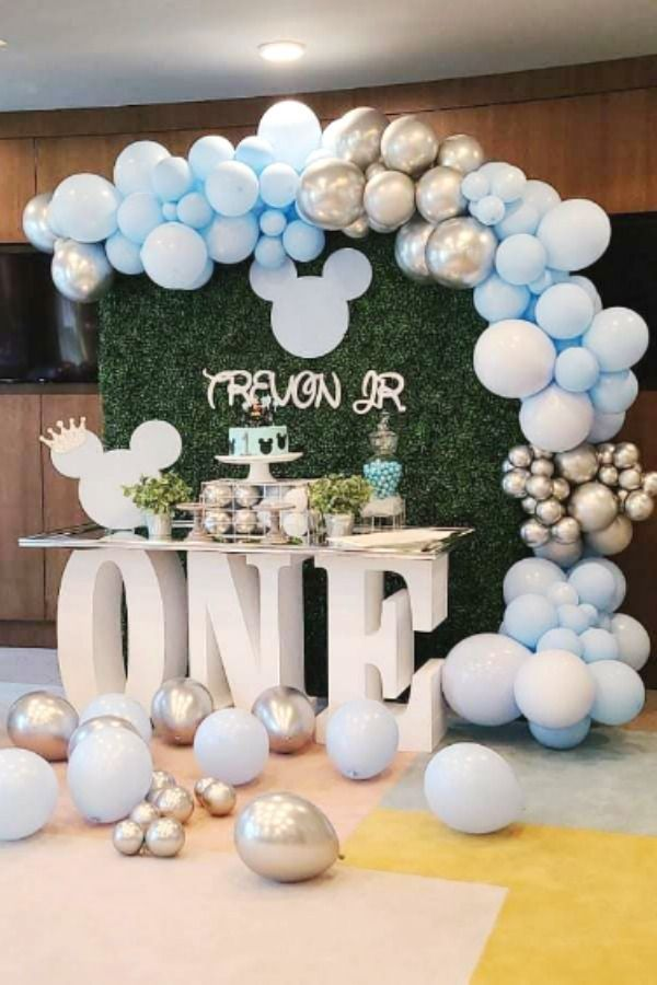 Mickey Mouse Birthday Party Ideas Photo 1 Of 5 In 2021 Mickey Mouse 1st Birthday 1st Birthday Decorations Boy Boy Birthday Decorations