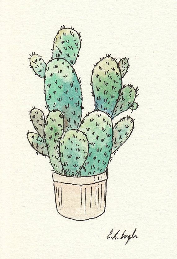 ORIGINAL Watercolor Painting Potted Cactus -Painted with professional grade watercolor paints on 140lb, cold press watercolor paper.