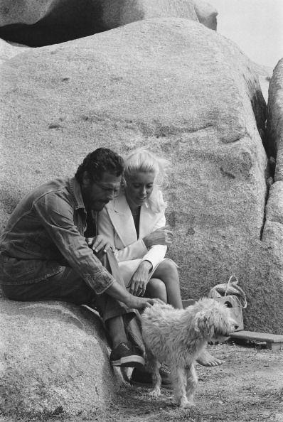 "Marcello Mastroianni and Catherine Deneuve on the set of""Liza"""
