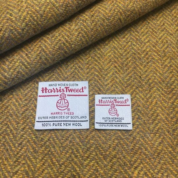Harris Tweed Fabric, Mustard Yellow & Caramel Herringbone