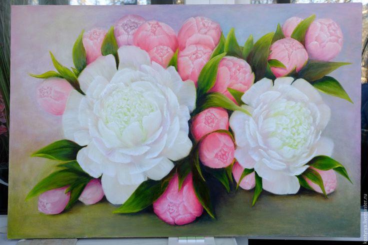 """Купить Картина """"Пионы"""" - розовый, картина, картина маслом, картина на заказ, картина на холсте"""