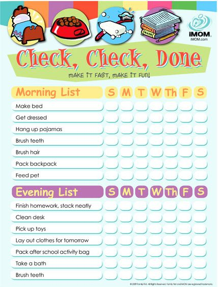 Check Check Done Chore Chart Printable