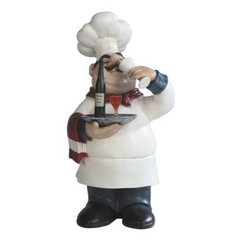 Fat Bistro Chef Wine Tasting Poly Resin Figurine Statue Decoration   Height  14.25 Inches GSC Http