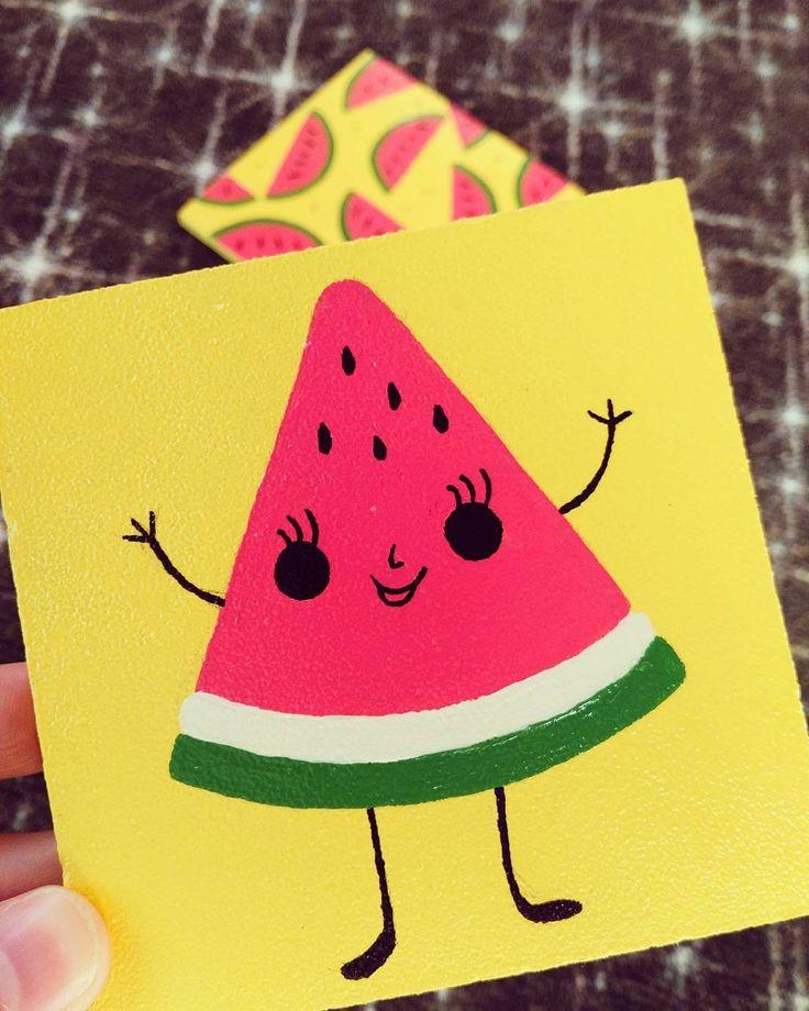 watermelon  ☀️ el yapımı ahşap bardak altlıkları ️