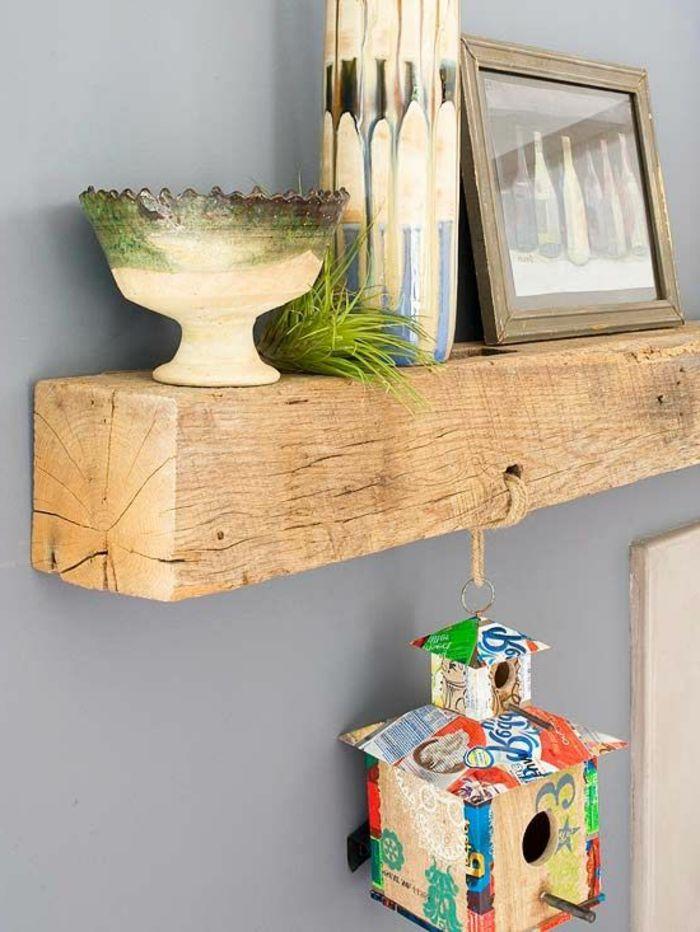 meubles en bois brut, jolie étagère en bois massif naturel
