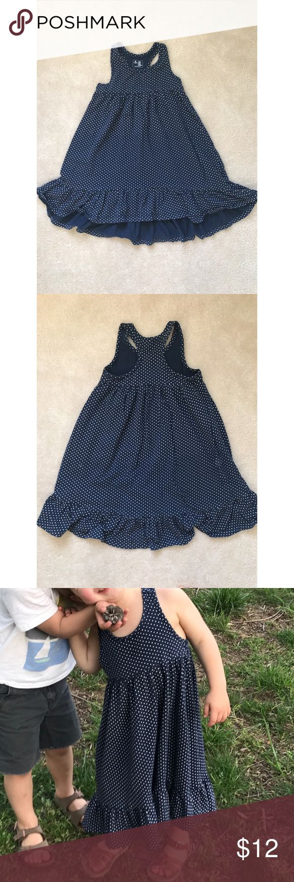 Navy Polka Dot Maxi Dress Super cute maxi dress from Gap Factory. It is soft, 100% cotton, navy wig white polka dots. It is a hi-low Dress, lightly higher in the front. Ruffle at the hem and a racer back style. In EUC. GAP Dresses Casual