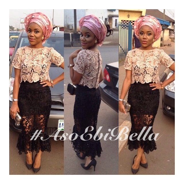 Gold Lace Blouse with Black Lace Skirt & Peach Gele