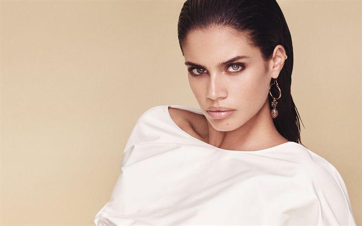 Download wallpapers Sara Sampaio, Portuguese top model, portrait, make-up, brunette, fashion model, Victorias Secret