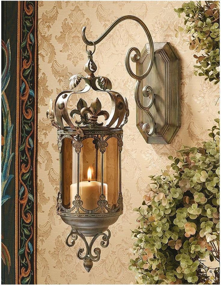 Fleur De Lis Hanging Metal Scrollwork Pendant Lantern