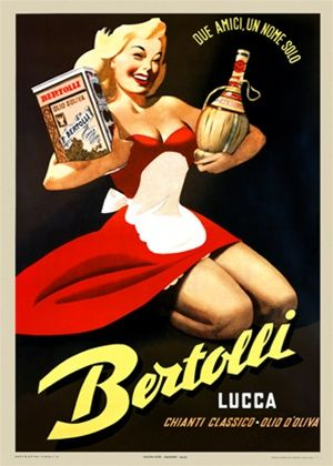 Bertolli 1930 Italy - Beautiful Vintage Posters Reproductions. Italian wine and spirits poster features a woman in a red dress holding a bottle of chianti in one arm and a box in the other. Giclee Advertising Print. Classic Posters