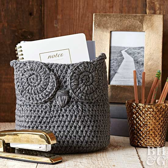 decorate with a cute crochet basket that can hold all of your desk essentials this