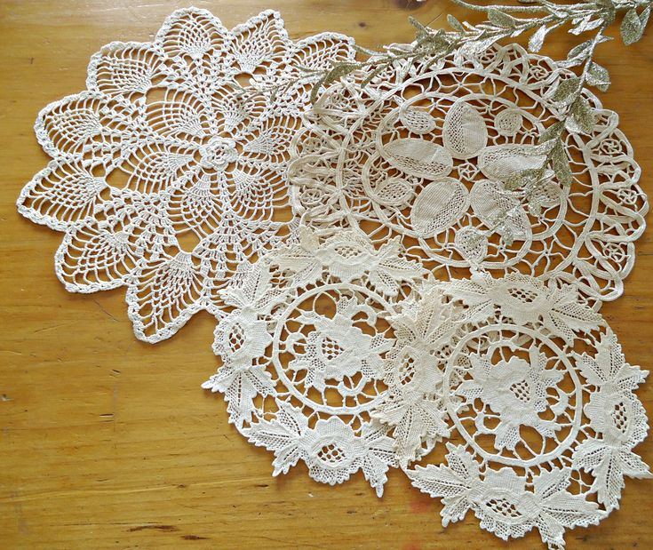 4 Doilies Doily Crocheted Doily Ecru Vintage Doilies  G10 by TreasureCoveAlly on Etsy