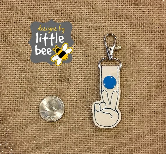 peace sign hands happy emoji MINI snap tab key fob keychain embroidery design sew pes dst +more Instant Download! bean stitch
