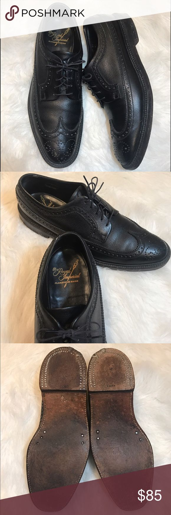 Florsheim Royal Imperial - Black Leather Wingtips Florsheim Royal Imperial black leather V-cleat wingtips. 5 nail. Florsheim's top of line shoe. Style number 96605. In excellent pre-loved condition. Slight wear marks on leather on inside of rear cuffs - shown in pictures. Beautiful shoes. Size 9.5 B (narrow). All leather construction. Made in USA. Leather soles. Florsheim Shoes Oxfords & Derbys