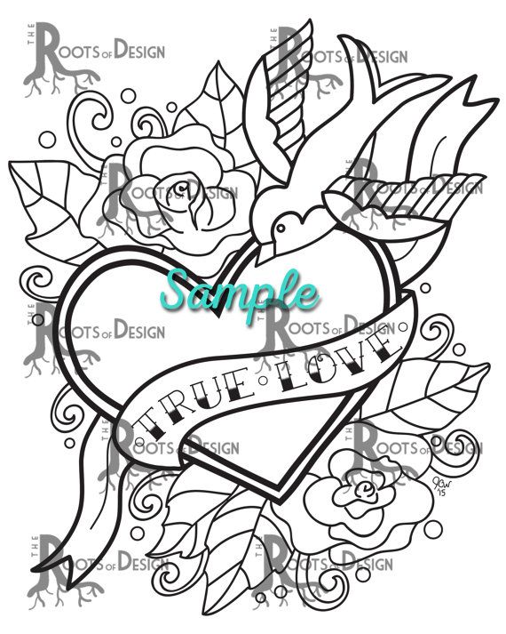 Instant Download Coloring Page Tattoo Style True Love Heart Etsy Heart Coloring Pages Coloring Pages Coloring Books