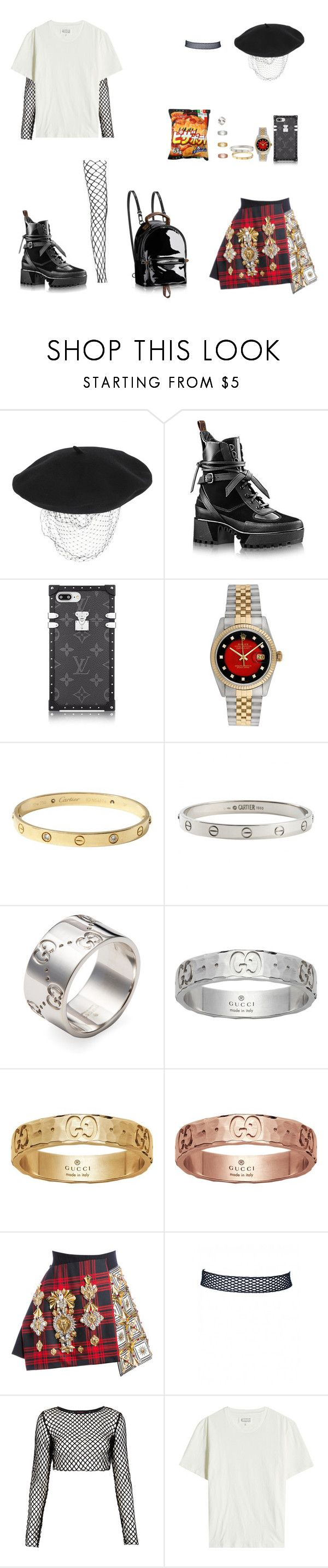 """""""Outfit #197"""" by kepl ❤ liked on Polyvore featuring Silver Spoon Attire, Louis Vuitton, Rolex, Cartier, Gucci, FAUSTO PUGLISI, Motel and Maison Margiela"""