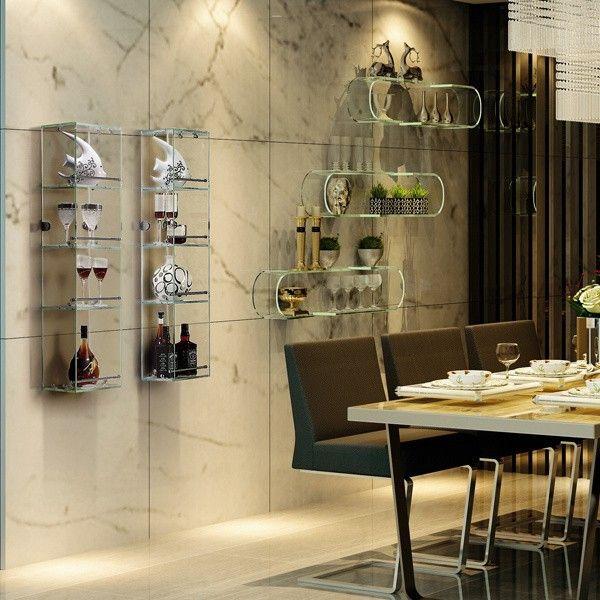 Estantes De Acero Para Baño:colgar de la pared estante de vidrio-imagen-Estanterías de Baño