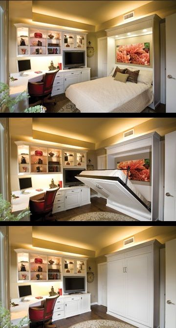 "Feeling guilty for ""taking"" a bedroom for my office!  This is amazing.  i can see using this idea for the Hatteras House!  The adage that ""necessity is the mother of invention"" clearly holds true in the invention of the Murphy Bed."