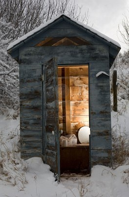 something to be thankful for.....indoor plumbing. Yes it is something to be thankful for because as a kid we had one on the farm. Is it a cold seat in the winter??? Yes, very cold!!!