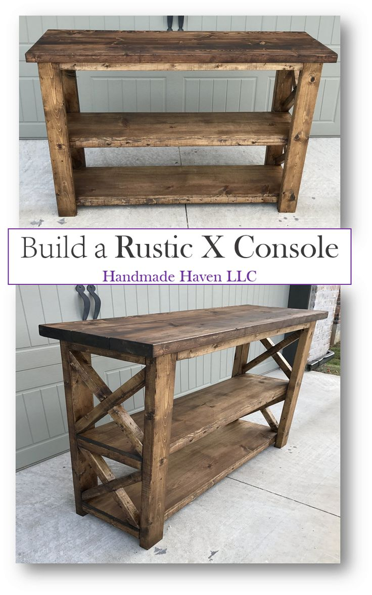Diy rustic wood table - Step By Step How To Rustic X Console Free Plans By Smashing Diy Handmade Haven Diy House Furniture