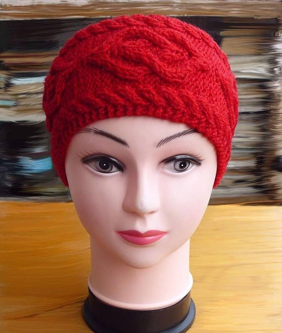 Red knitted headband ear warmer Gift for her Fashion knit