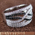 White And Black Cubic Zirconia Genuine Sterling Silver RingZirconia Genuine, Cubic Zirconia, Genuine Sterling, New Products, Sterling Silver Rings, Black Cubical, Vows Renewals