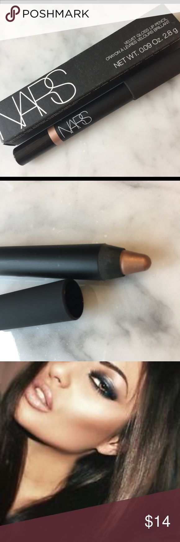 """NARS Velvet Lip Gloss Pencil in """"Cythere"""" New in box, never swatched or used. Metallic rose gold color. """"This jumbo lip pencil provides glossy color. Imparts luxurious shine to illuminate your lips. Lightweight formula & comfortable to wear. Enriched with vitamin e plus a blend of moisture-rich hyaluronic spheres. Gives superior hydration to make lips appear fuller leaves an extra smooth, buttery feel on lips"""" NARS Makeup Lipstick"""