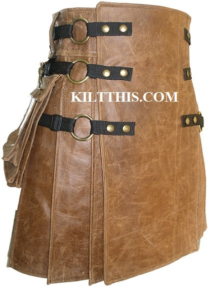 Utility Kilt Brown Leather Kilt for Men Handmade in by KiltThis, $599.00