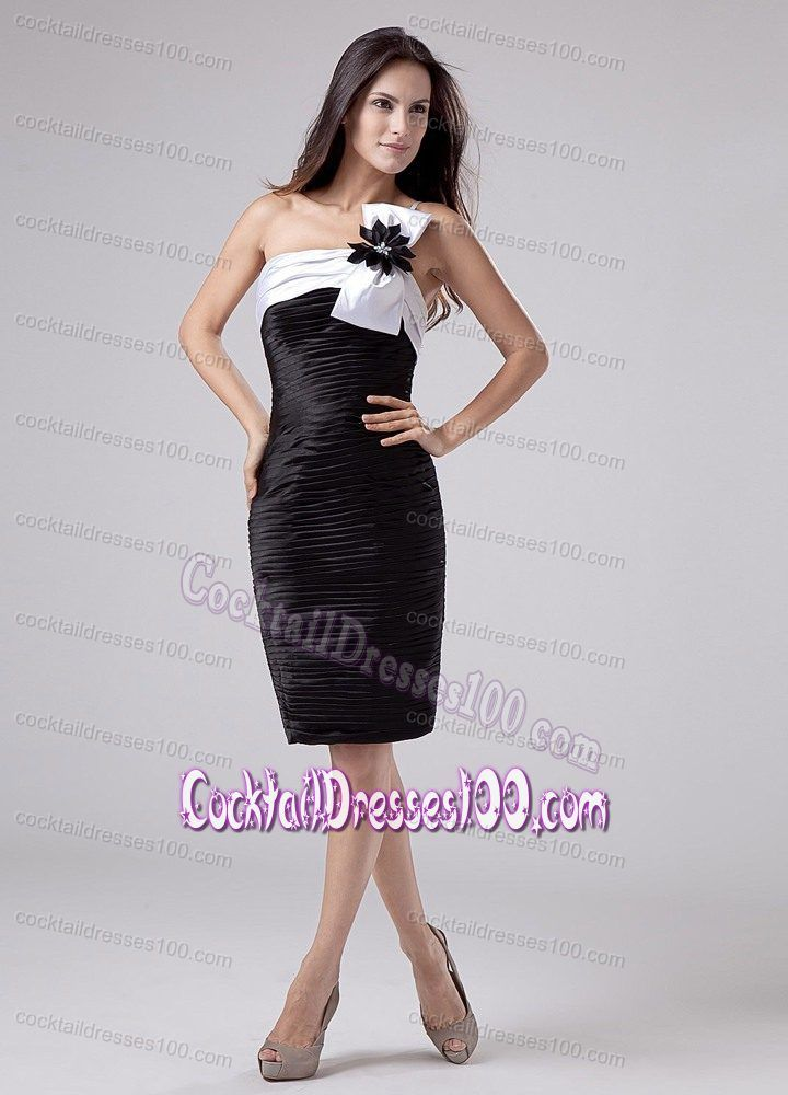 Knee-length Ruched Taffeta One Shoulder Prom Cocktail Dress
