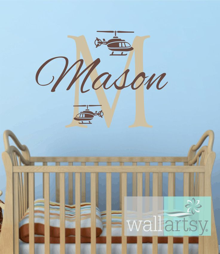 helicopter wall decals personalized initial and name vinyl wall decal wall decal boy baby. Black Bedroom Furniture Sets. Home Design Ideas