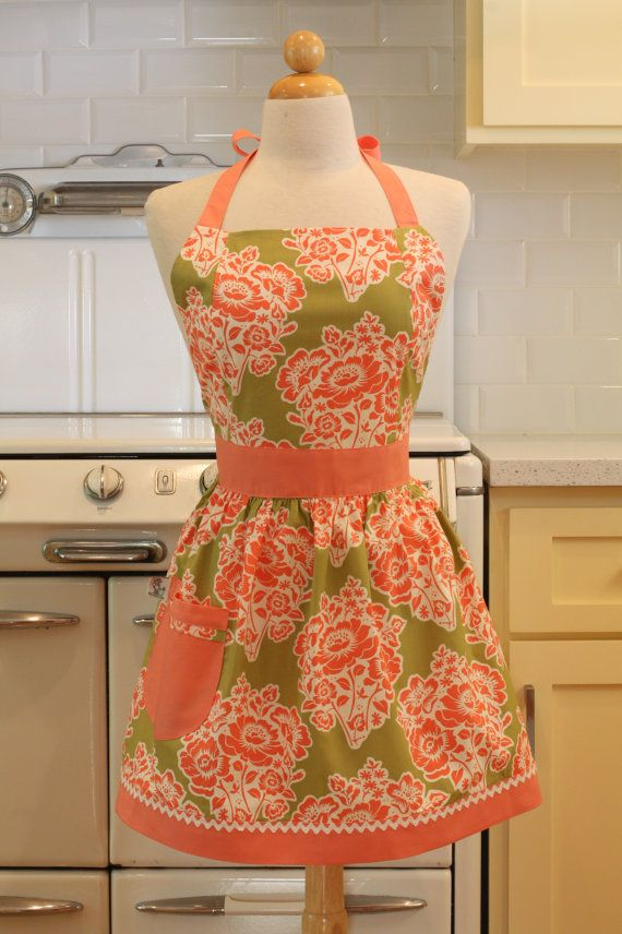 Apron Retro Style Pink Flowers on Sage CHLOE Full Apron Vintage Inspired