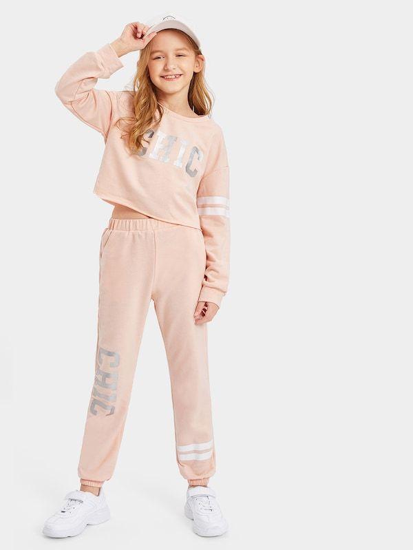 f2fbbbe6e8 Conjunto de niñas top corto con estampado de letra con pantalones deportivos-Spanish  SheIn(Sheinside)