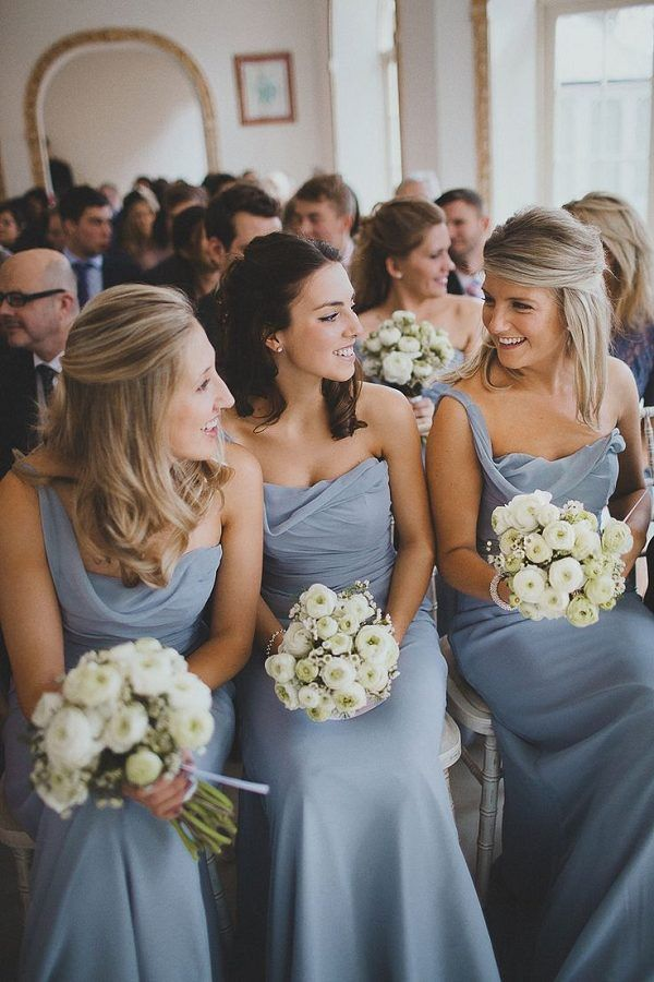 dusty blue bridemaids dresses with one shoulder draped neckline and flowy body / http://www.deerpearlflowers.com/mix-n-match-bridesmaid-dresses/2/