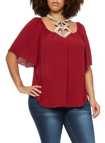 Plus Size Textural Top with Crystal Halter Neck