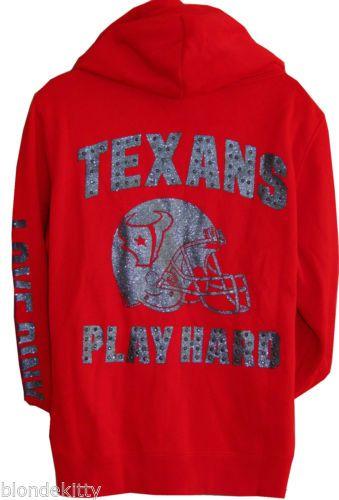 Victoria Secret PINK Texas BLiNG NFL Houston Texans Hoodie L Glitter Rhinestone