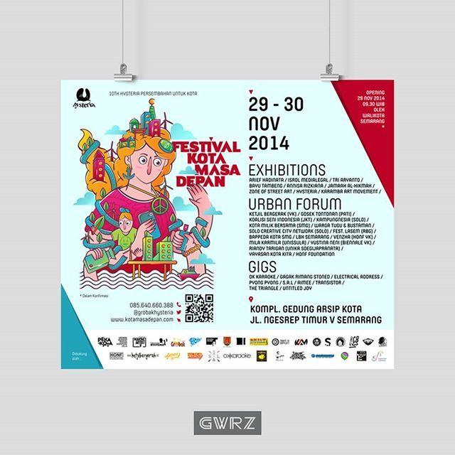 FESTIVAL KOTA MASA DEPAN vectorwork 2014 • Our illustration for Hysteria. Layout by @slurb • gwrz.co.id behance.net/gawurzart kreavi.com/gawurzart • #art #minimalism #poster #vector #semarang #illustration #gwrz  #graphicdesign #behance #hypebeast #infographic