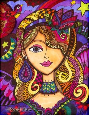 Pen Zen...Jessica in color by Rondi Kutz