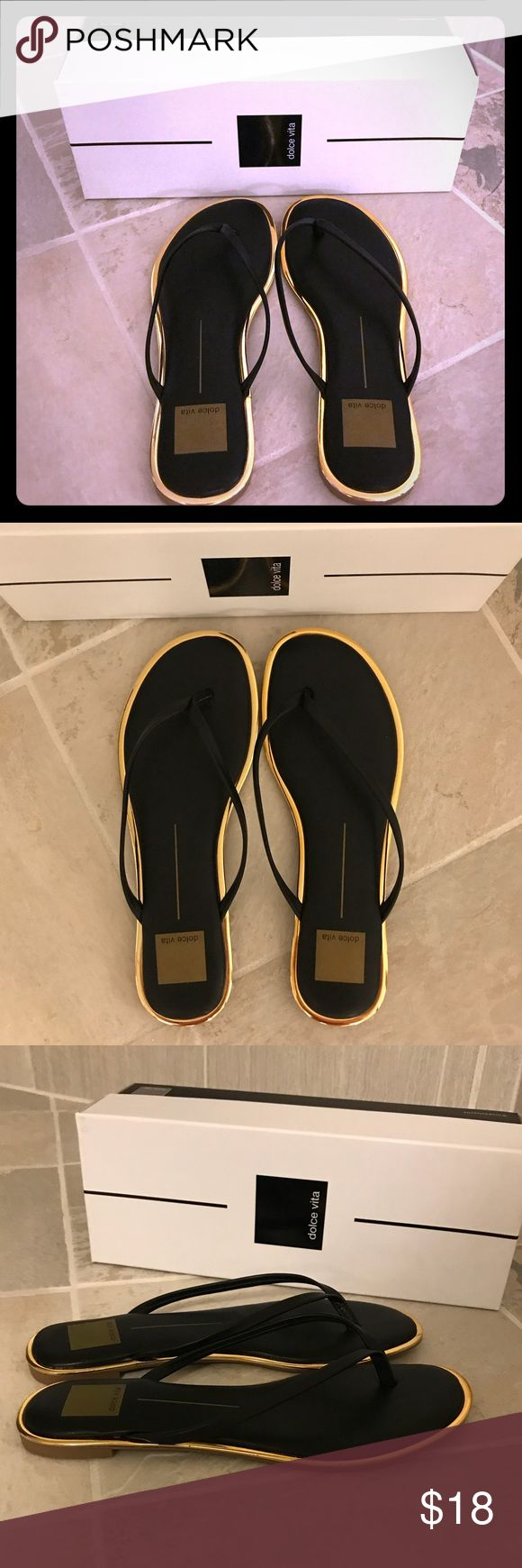 NWT Dolce vita black leather gold flip flops Women's sandals are brand new and unworn. No signs of any wear, flawless and includes box. Dolce Vita Shoes Sandals
