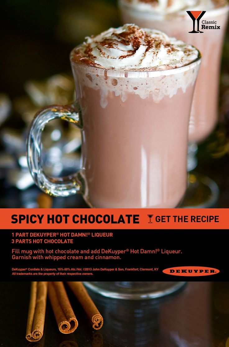 Spicy Hot Chocolate. Add some cinnamon and spice to your hot cocoa for a cocktail that'll warm you right up. #cocktail #recipe #holiday